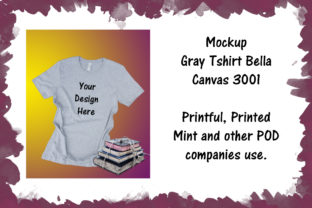 Print on Demand: Mockup Gray Tshirt Bella Canvas 3001 Graphic Product Mockups By A Design in Time