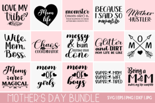 Print on Demand: Mother's Day Bundle SVG - 15 DESIGNS Graphic Crafts By inlovewithkats
