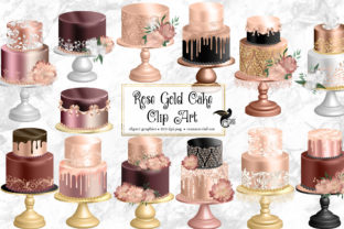 Print on Demand: Rose Gold Cakes Clip Art Graphic Illustrations By Digital Curio