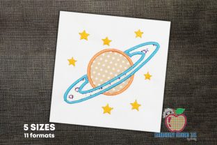 Saturn Planet Applique Backgrounds Embroidery Design By embroiderydesigns101