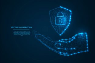 Print on Demand: Security Shield on Hand Low Poly Design Graphic Illustrations By Riduwan Molla