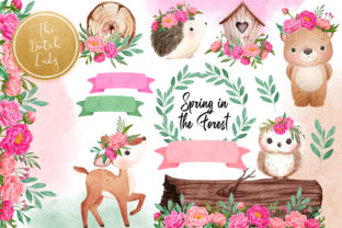 Print on Demand: Spring Forest Animal Clipart Set Graphic Illustrations By daphnepopuliers