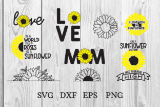 Print on Demand: Sunflower SVG Bunle, Flowers Svg Graphic Print Templates By dadan_pm