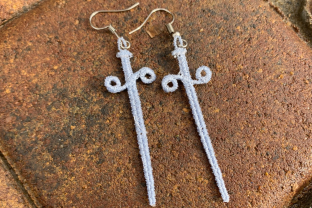 Sword Earrings Accessories Embroidery Design By LaceArtDesigns