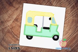 The Auto Rickshaw for a Ride Applique Transportation Embroidery Design By embroiderydesigns101