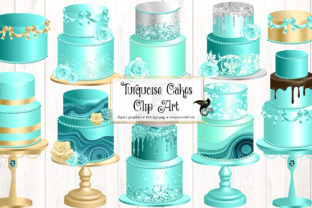 Print on Demand: Turquoise Cakes Clip Art Graphic Illustrations By Digital Curio