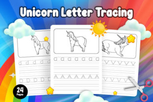 Print on Demand: Unicorn Letter Tracing - KDP Interior Graphic Coloring Pages & Books Kids By Riduwan Molla