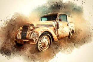 Print on Demand: Vintage Car Printables 300 Dpi Pack 17 Graphic Illustrations By The leaves river