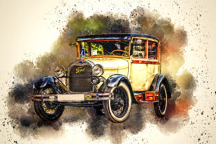 Print on Demand: Vintage Car Printables 300 Dpi Pack 18 Graphic Illustrations By The leaves river