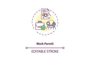 Print on Demand: Work Permit Concept Icon Graphic Icons By bsd studio
