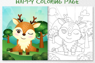 A Cute Deer Animal 3 - Coloring Page Graphic Coloring Pages & Books Kids By wijayariko