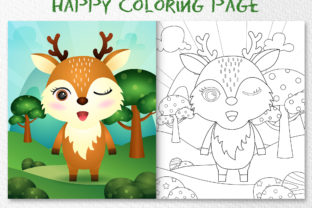A Cute Deer Animal 5 - Coloring Page Graphic Coloring Pages & Books Kids By wijayariko