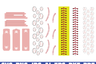 Print on Demand: Baseball Glitter Pen Wraps Graphic Graphic Templates By Sofiamastery