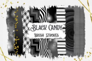 Black Candy Brush Strokes Clipart Graphic Backgrounds By PinkPearly