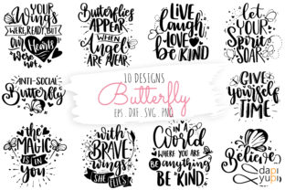 Print on Demand: Butterfly Quotes Bundle Graphic Crafts By dapiyupi