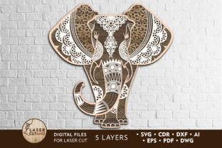 Print on Demand: Elephant Vector Files for Laser Cutting Graphic Crafts By LaserCutano