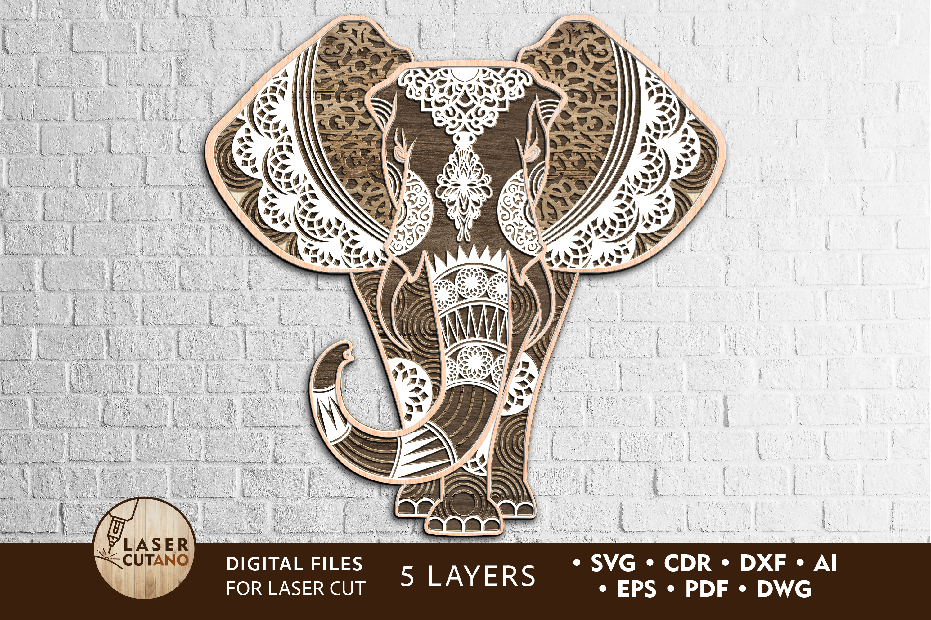 Elephant Vector Files for Laser Cutting SVG File