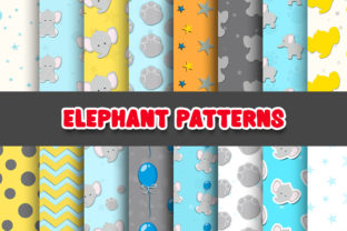 Print on Demand: Elephant Digital Paper Patterns Graphic Patterns By Grafixeo