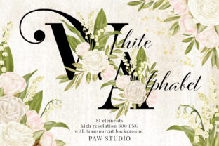 Print on Demand: Flowers Alphabet Numbers White Roses Graphic Illustrations By PawStudio