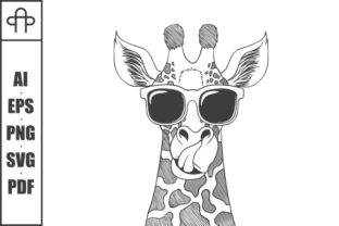 Print on Demand: Giraffe Wearing Eyeglasses Hand Drawn Graphic Illustrations By Andypp