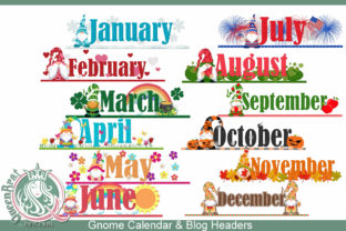 Gnome Calendar Blog Toppers Graphic Illustrations By QueenBrat Digital Designs