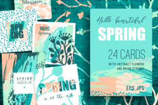 Hello Spring! 24 Creative Art Cards. Graphic Print Templates By Nadia Grapes