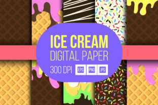 Ice Cream Digital Paper Graphic Backgrounds By Raafi Hilmi