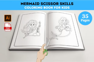 Mermaid Scissor Skills Coloring Book Graphic Coloring Pages & Books Kids By Leos Designs