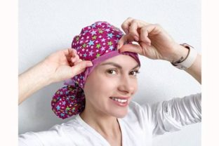Scrub Cap Ponytail Style#10 with Fleece Graphic Sewing Patterns By Cotton Miracle Studio