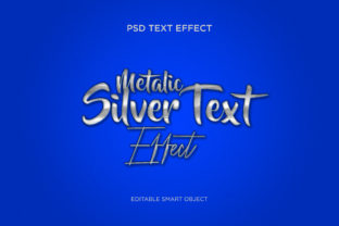 Silver Metallic Metal 3D Text Effect Graphic Product Mockups By Fabrica_Designer