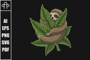 Print on Demand: Sloth Hug Weed Vector Illustration Graphic Illustrations By Andypp