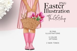 Print on Demand: Spring Easter Fashion Illustration Set Graphic Illustrations By TheGGShop