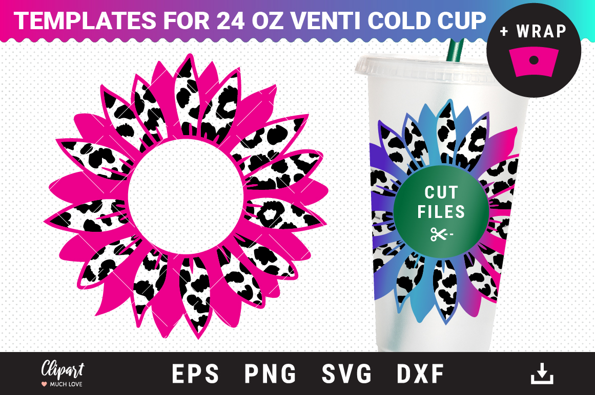 Sunflower SVG Decal 24oz Venti Cold Cup SVG File