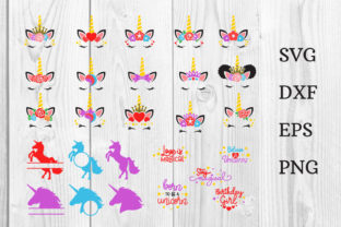 Print on Demand: Unicorn SVG Bundle 26 Designs Cut File Graphic Print Templates By dadan_pm