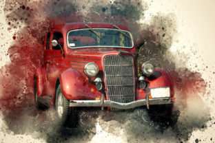Print on Demand: Vintage Car Printables 300 Dpi Pack 20 Graphic Illustrations By The leaves river