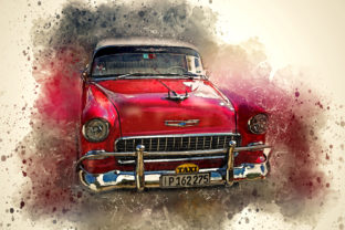 Print on Demand: Vintage Car Printables 300 Dpi Pack 24 Graphic Illustrations By The leaves river