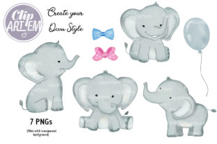 Print on Demand: Watercolor Baby Elephants Boy Girl Graphic Illustrations By clipArtem