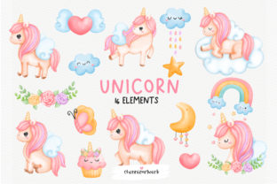 Print on Demand: Watercolor Unicorn Clipart Bundle Graphic Illustrations By Chonnieartwork