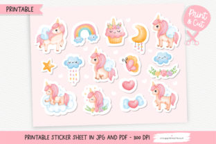 Print on Demand: Watercolor Unicorn Printable Stickers Graphic Crafts By Chonnieartwork