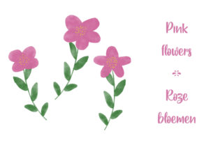Print on Demand: Watercolor Pink Flowers - Roze Bloemen Graphic Illustrations By Vonneke Van Rijn-Brands