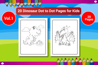 20 Dinosaur Dot to Dot Pages for Kids Graphic Coloring Pages & Books Kids By Sharif54