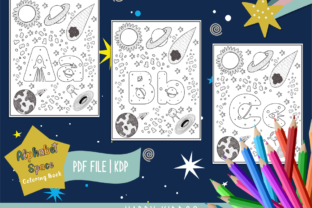 Alphabet Space Coloring Book for Kids Graphic Coloring Pages & Books Kids By Happy Kiddos
