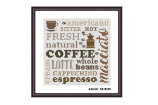 Print on Demand: Coffee Words Cloud Kitchen Cross Stitch Graphic Cross Stitch Patterns By Tango Stitch