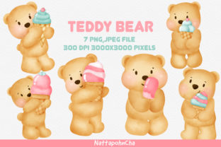 Cute Teddy Bear and Ice Cream  Clipart Graphic Illustrations By nattapohncha