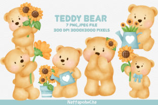 Cute Teddy Bear with Sunflower Clipart. Graphic Illustrations By nattapohncha