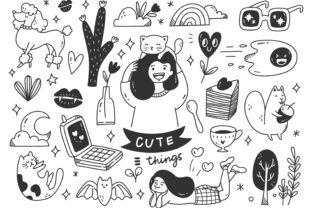 Cute Hand Drawn Doodle Line Art Graphic Illustrations By Big Barn Doodles