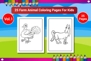 Farm Animal Coloring Pages for Kids Graphic Coloring Pages & Books Kids By Sharif54