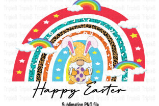 Print on Demand: Gnome Happy Easter Rainbow Sublimation Graphic Illustrations By TripleBcraft