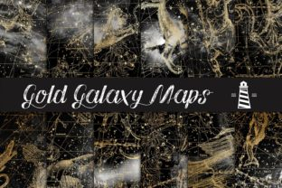 Print on Demand: Gold Galaxy Maps Graphic Backgrounds By northseastudio