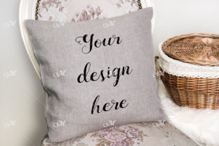Linen, Canvas Pillow on a Chair Mock Up Graphic Product Mockups By MaddyZ